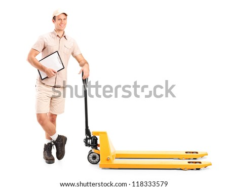Full length portrait of a manual worker holding a clipboard and fork pallet truck isolated on white background - stock photo