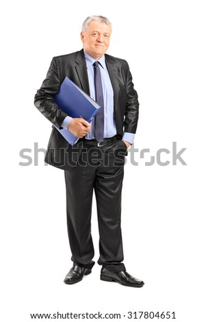 Full length portrait of a mature businessman holding a blue folder and looking at the camera isolated on white background - stock photo