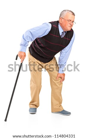 Full length portrait of a mature man with a knee pain isolated on white background - stock photo