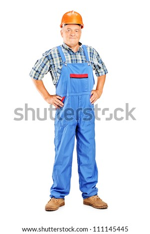 Full length portrait of a mature manual worker isolated on white background - stock photo
