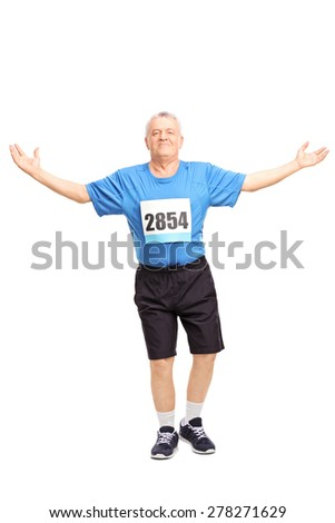 Full length portrait of a mature runner finishing a race and celebrating his victory isolated on white background - stock photo