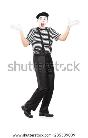 Full length portrait of a mime artist gesturing joy with his hands isolated on white background - stock photo