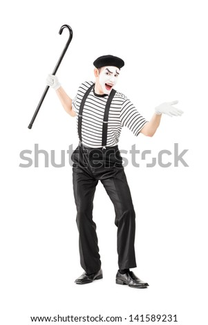 Full length portrait of a mime artist holding a cane and gesturing isolated on white background - stock photo