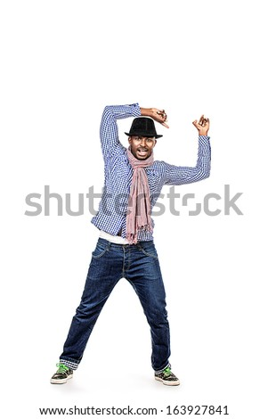 Full length portrait of a modern african american young man dancing at studio. Isolated over white. - stock photo