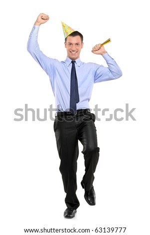 Full length portrait of a party person celebrating isolated on white background - stock photo