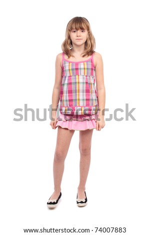 Full length portrait of a pretty girl, isolated on white background