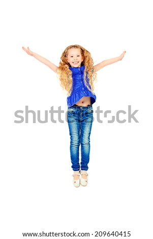 Full length portrait of a pretty joyful girl with a beautiful smile. Isolated over white. - stock photo