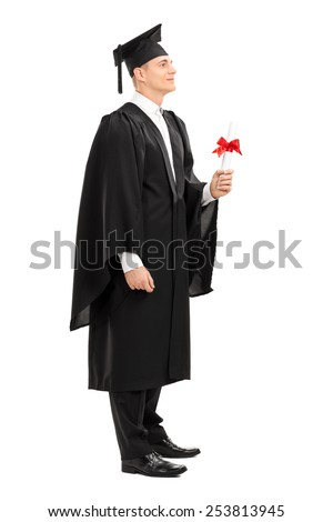 Full length portrait of a proud college graduate holding a diploma isolated on white background - stock photo