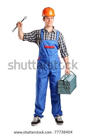Full length portrait of a repairman in overall holding a toolbox and wrench isolated on white background