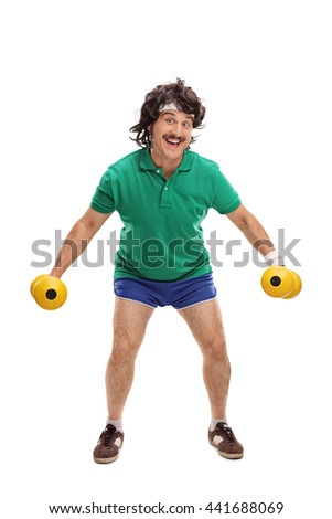 Full length portrait of a retro young guy exercising with two dumbbells isolated on white background - stock photo