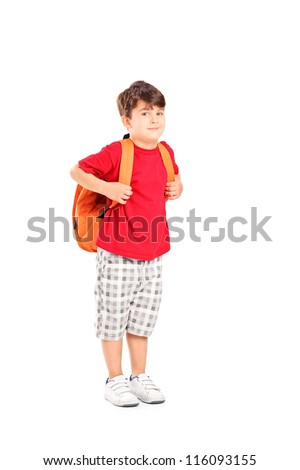 Full length portrait of a school child with a backpack posing isolated on white background - stock photo