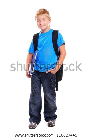 Full length portrait of a schoolboy isolated on white background - stock photo