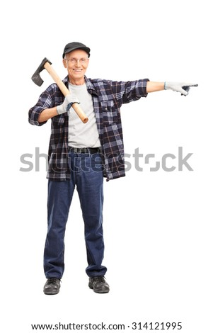 Full length portrait of a senior man holding an axe on his shoulder and pointing isolated on white background - stock photo