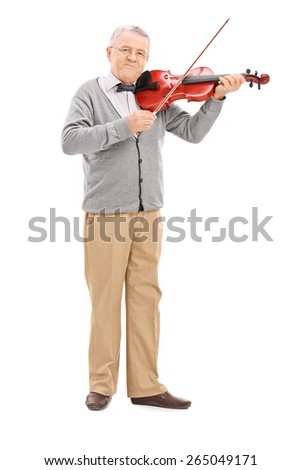 Full length portrait of a senior musician playing a violin with a wand isolated on white background - stock photo