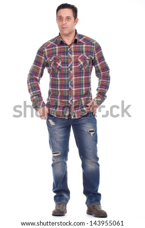 Full length portrait of a smart mature man - stock photo