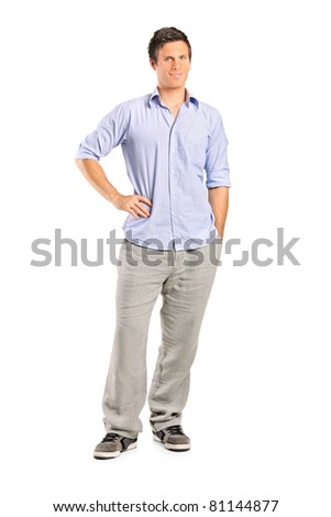 Full length portrait of a smiling casual man looking at camera with confidence, isolated on white background - stock photo