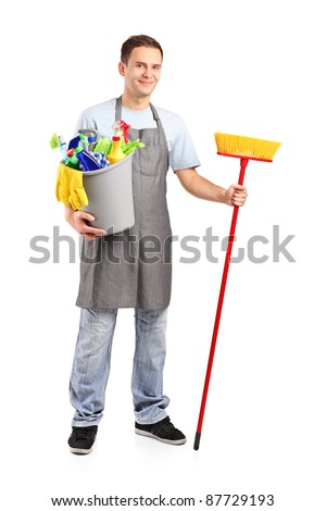 Full length portrait of a smiling cleaner isolated on white background - stock photo
