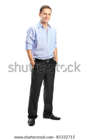 Full length portrait of a smiling man looking at camera with confidence, isolated against white background - stock photo