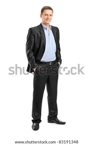 Full length portrait of a smiling man looking at camera with confidence, isolated on white background - stock photo