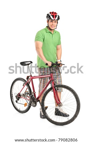 Full length portrait of a smiling man posing with a mountain bike isolated on white background - stock photo
