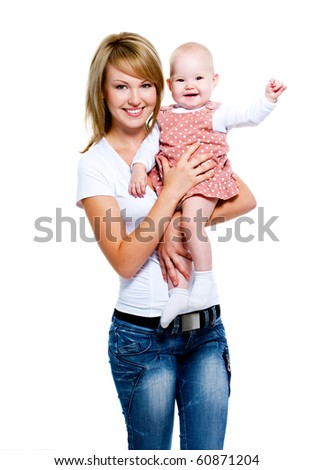 Full-length portrait of a smiling mother with baby on hands -   isolated on white