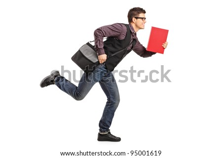 Full length portrait of a student in rush running with notebook isolated on white background - stock photo
