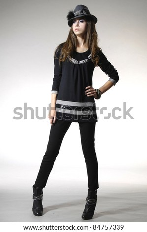 full-length portrait of a styled professional model - stock photo