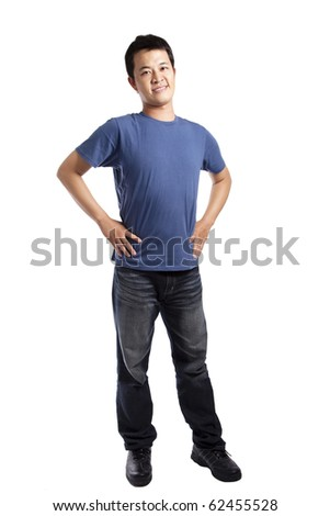 Full length portrait of a stylish young man standing isolated on white background - stock photo
