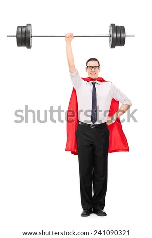 Full length portrait of a superhero holding a heavy weight isolated on white background - stock photo