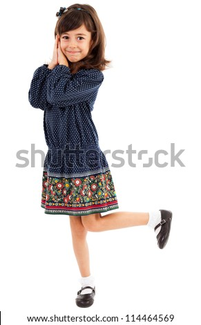 Full length portrait of a sweet little girl isolated on white background - stock photo