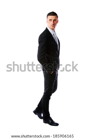 Full-length portrait of a thoughtful businessman isolated on a white background - stock photo
