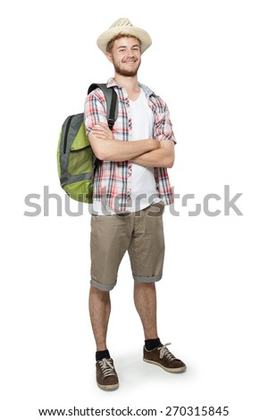 Full length portrait of a tourist man isolated on white background - stock photo