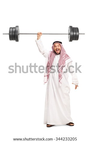 Full length portrait of a very strong young Arab lifting a heavy barbell with just one hand isolated on white background - stock photo