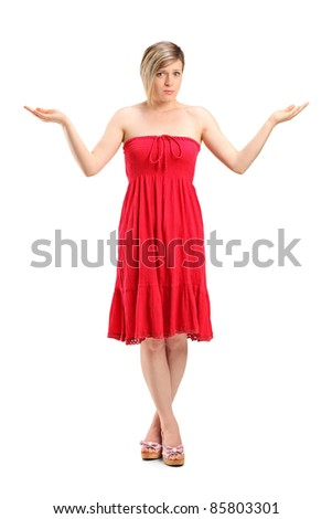 Full length portrait of a woman gesturing don't know isolated on white background - stock photo
