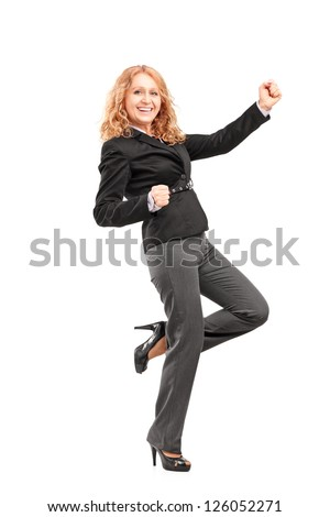Full length portrait of a woman gesturing happiness isolated on white background - stock photo