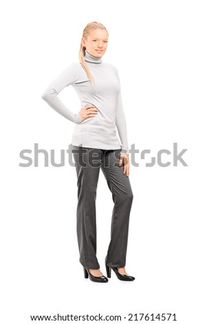 Full length portrait of a woman in casual clothes posing isolated on white background - stock photo