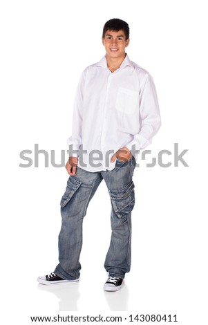 Full length portrait of a young attractive handsome caucasian male model wearing jeans and a white button shirt isolated on a white background - stock photo