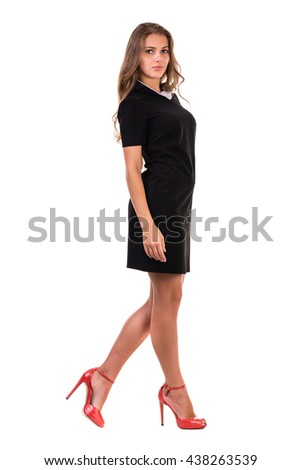 full-length portrait of a young business woman, isolated on white - stock photo
