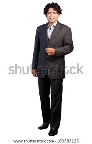 full length portrait of a young businessman, portrait of an Indian businessman isolated on white - stock photo