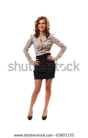 Full length portrait of a young businesswoman - stock photo