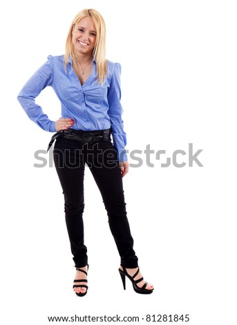 Full length portrait of a young businesswoman. Isolated on white. - stock photo