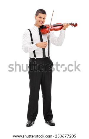 Full length portrait of a young elegant man playing a violin isolated on white background - stock photo