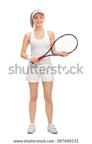 Full length portrait of a young female tennis player holding a racket isolated on white background - stock photo