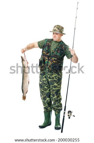 Full length portrait of a young fisherman with his catch isolated on white background - stock photo