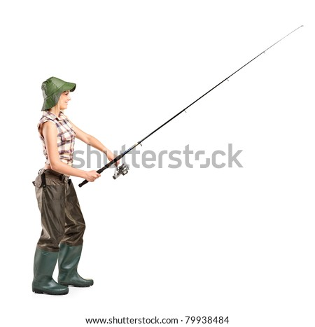 Full length portrait of a young fisherwoman posing isolated on white background