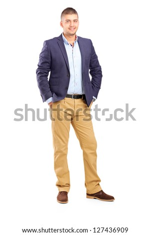 Full length portrait of a young handsome male posing isolated on white background - stock photo