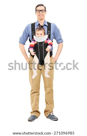 Full length portrait of a young joyful father posing with his baby daughter isolated on white background - stock photo