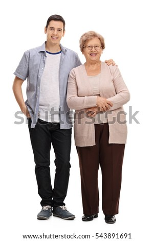Full length portrait of a young man and a mature woman isolated on white background