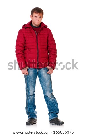 Full length portrait of a young man dressed with winter clothes isolated on white background - stock photo