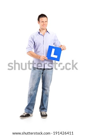 Full length portrait of a young man holding an l sign isolated on white background - stock photo